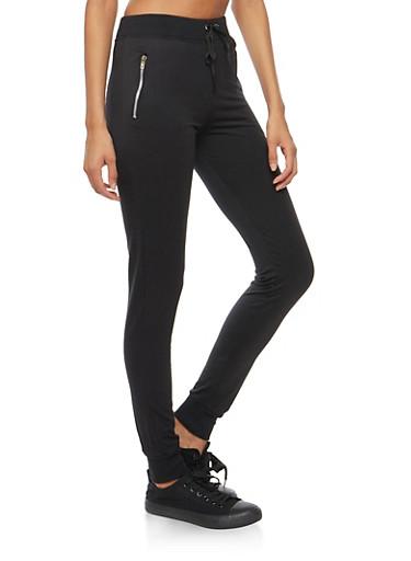 Drawstring Waist Zipper Sweatpants,BLACK,large