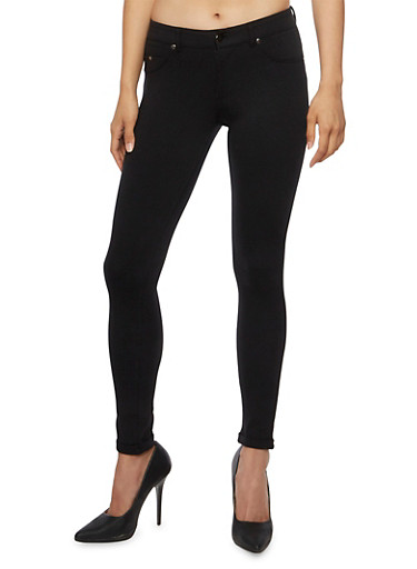 Skinny Pants with Fixed Rolled Hems,BLACK,large