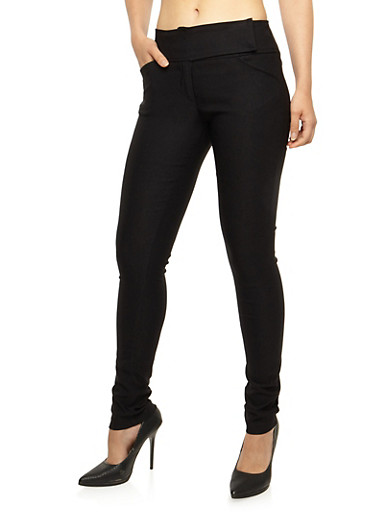 Solid Dress Pants With Tab Front Waist,BLACK,large