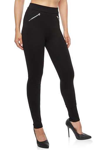 Skinny Dress Pants with Zippers,BLACK,large