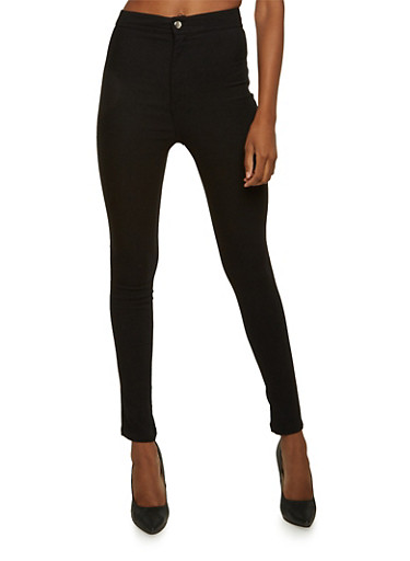 High Waisted Skinny Pants,BLACK,large
