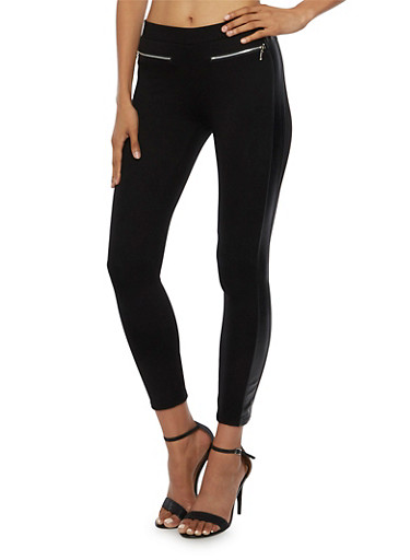 Ponte Leggings with Faux Leather Trim,BLACK,large