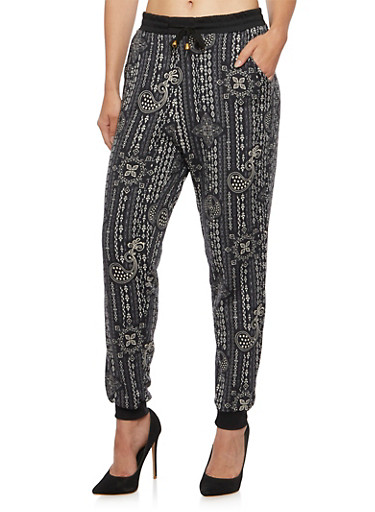 Printed Joggers with Drawstring Waist,BLACK/KHAKI,large
