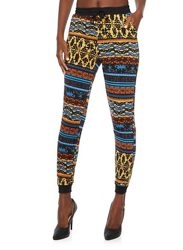 Drawstring Joggers in Multicolored Print,BLUE,large