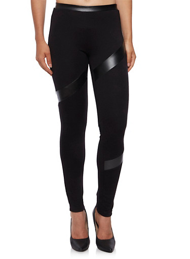 Stretch Knit Leggings with Faux Leather Panels,BLACK,large