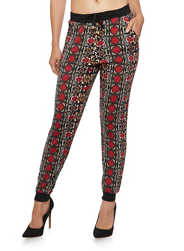 Aztec Print Joggers,RED,large
