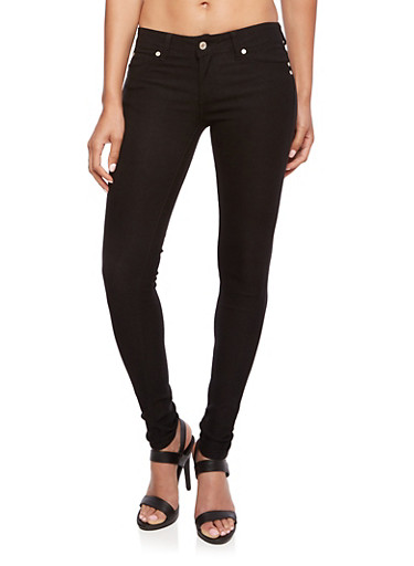 Solid Stretch Skinny Jeans with Five Pockets,BLACK,large