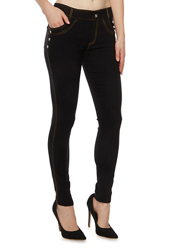 Jeggings with Studs and Pockets,BLACK,large