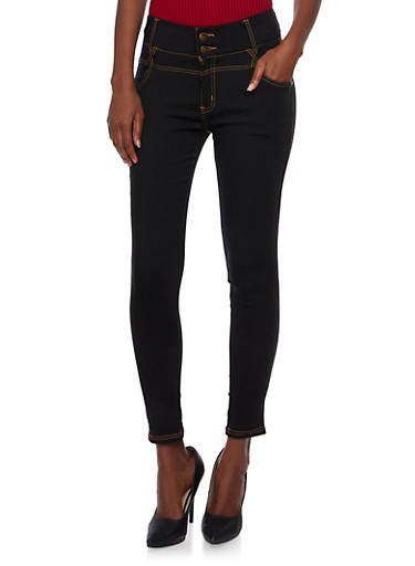 Jeggings with Two-Button Fly,BLACK,large