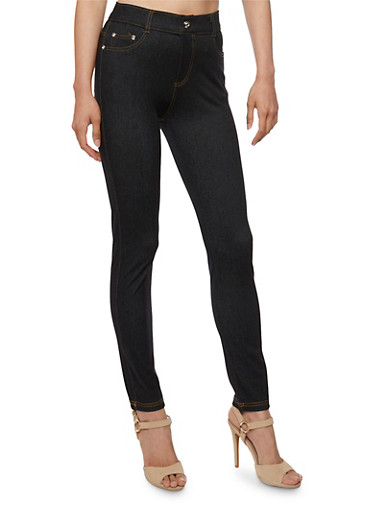 Denim Knit Jeggings with Rhinestone Stud Accents,BLACK,large