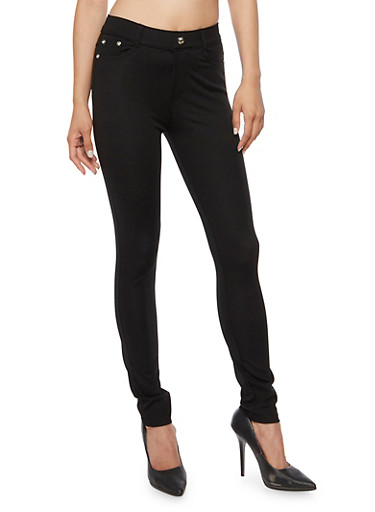 Solid Skinny Pants,BLACK,large