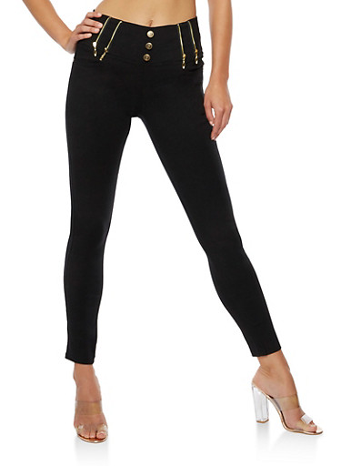 3 Button Pants with Exposed Zippers,BLACK,large
