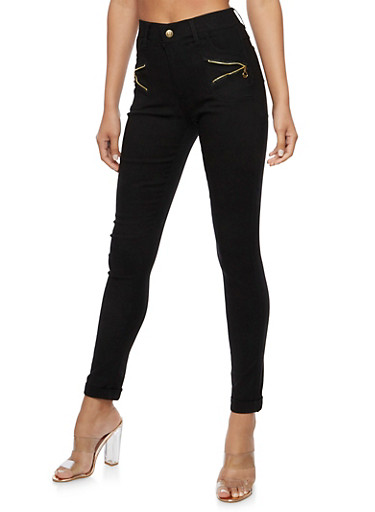 Zip Trim Skinny Stretch Pants,BLACK,large