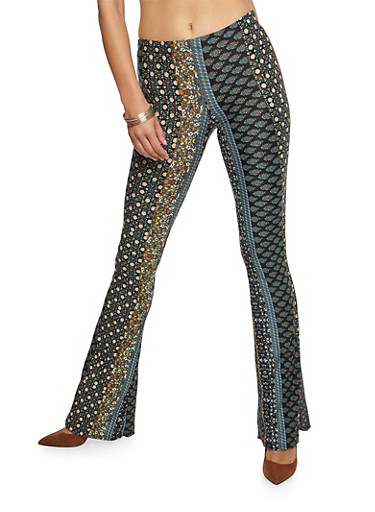 Printed Flared Leggings,BLACK/RUST,large