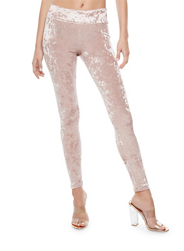 Wide Waist Crushed Velvet Leggings,BLUSH,large