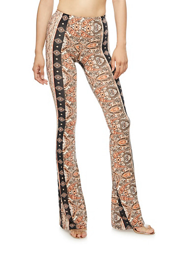 Printed Flared Pants,BLK/TAN,large