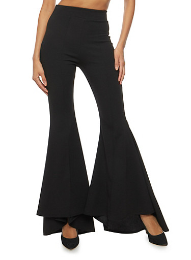 Pleated Crepe Knit Bell Bottom Pants,BLACK,large