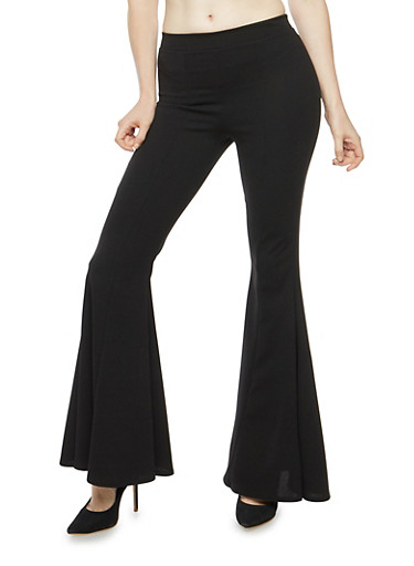 Pleated Bell Bottom Pants,BLACK,large