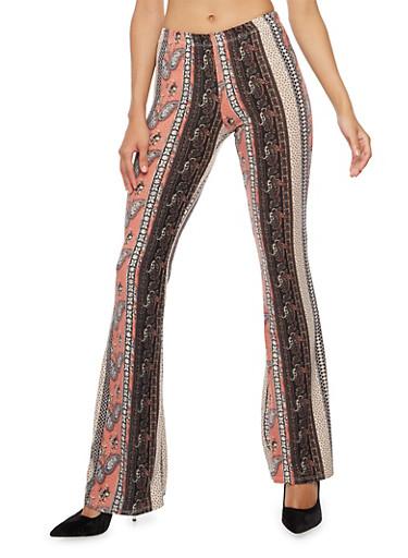Printed Soft Knit Flared Pants,BLACK/MAUVE,large
