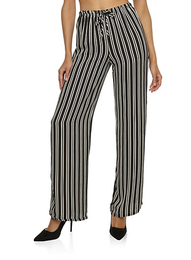 Striped Crepe Knit Palazzo Pants at Rainbow Shops in Jacksonville, FL | Tuggl
