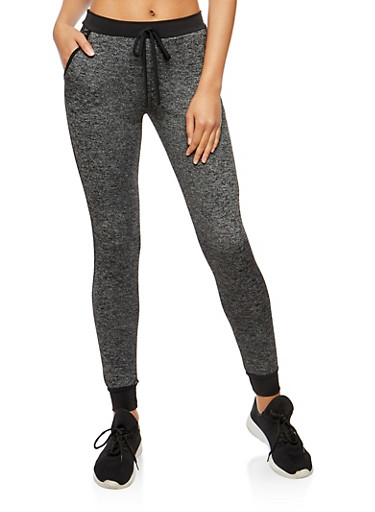 Faux Drawstring Activewear Joggers,HEATHER,large