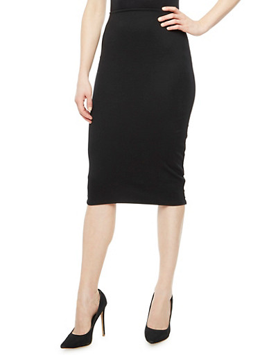 Ponte Midi Pencil Skirt,BLACK,large
