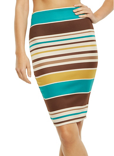Bodycon Midi Skirt in Stripes,TEAL,large