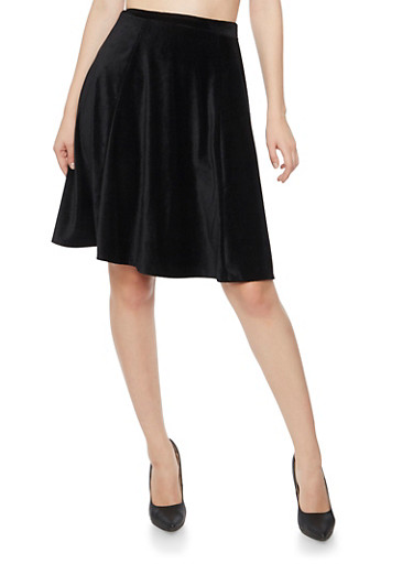 Skater Skirt in Stretch Corduroy,BLACK,large