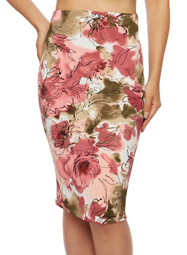 Textured Knit Pencil Skirt in Floral Print,MAUVE/OLIVE,large