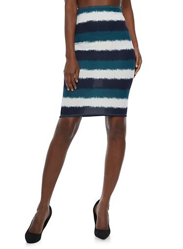 Wide Wave Striped Pencil Skirt,HUNTER,large