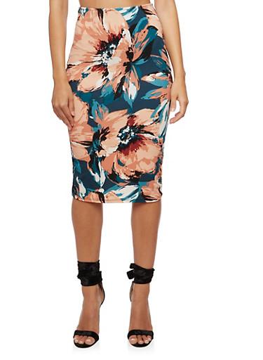 Floral Printed Pencil Skirt,HUNTER,large