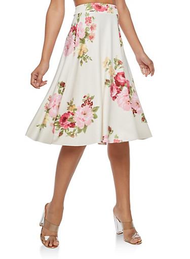Floral Print Skater Skirt,IVORY,large