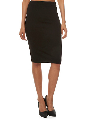 Bodycon Midi Skirt,BLACK,large