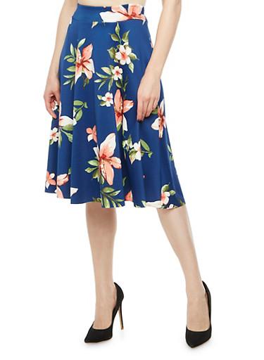 Floral Circle Skirt,NAVY/MAUVE,large