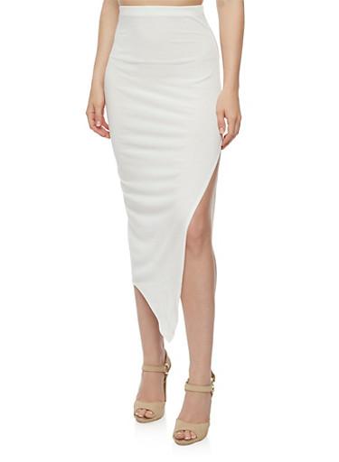 Solid Side Slit Pencil Skirt,IVORY,large