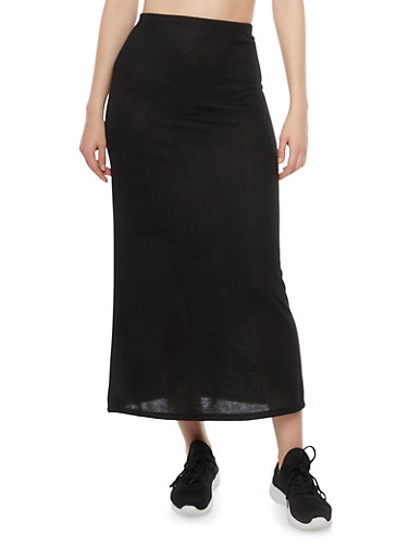 Solid Knit Maxi Skirt,BLACK,large