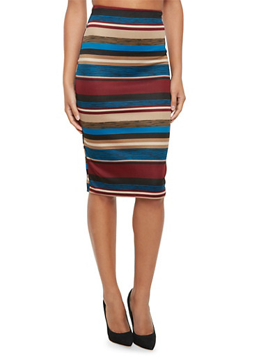 Stretch Midi Pencil Skirt in Stripes,BURGUNDY/TAUPE,large