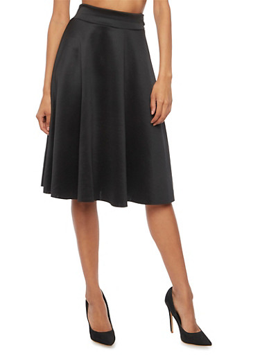Flared Skirt in Stretch Knit,BLACK,large