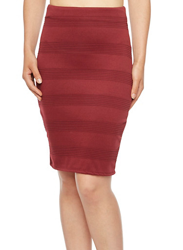 High-Waisted Mini Skirt with Knit Stripes,BURGUNDY,large