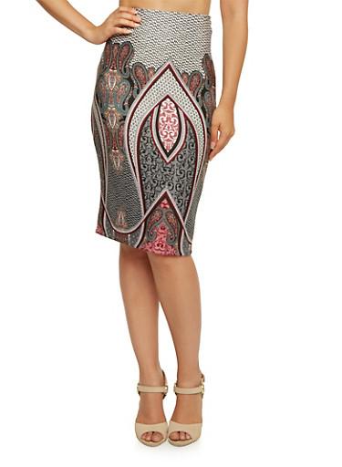Pencil Skirt with Paisley Border Print,BURGUNDY,large