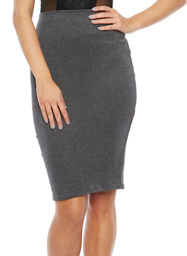 Knit Pencil Skirt,GRAY,large