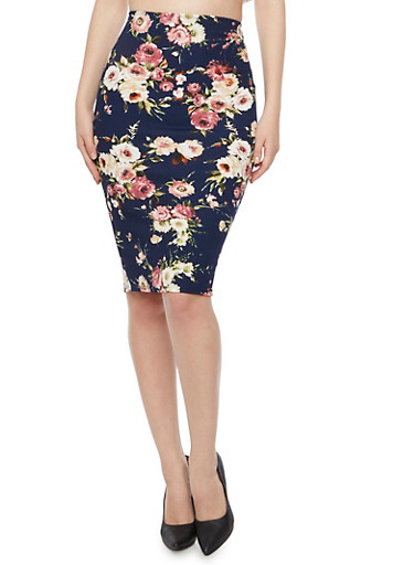 Stretch Pencil Skirt in Floral Print,NAVY,large