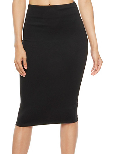 Stretch Midi Skirt,BLACK,large