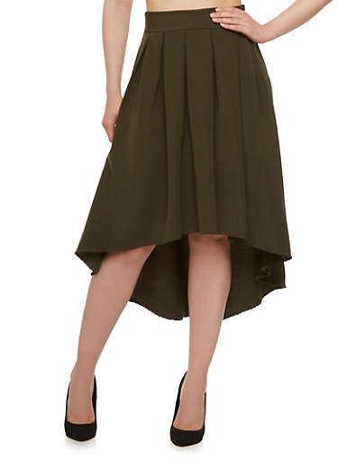 High-Low Skirt with Box Pleating,OLIVE,large