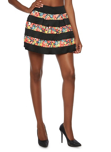 High Waisted Mini Skirt with Floral Stripes,BLACK,large