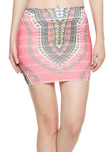 Bandage Skirt in Dashiki Print,FUCHSIA,large