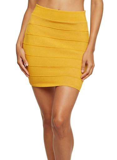 Bandage Mini Skirt,MUSTARD,large