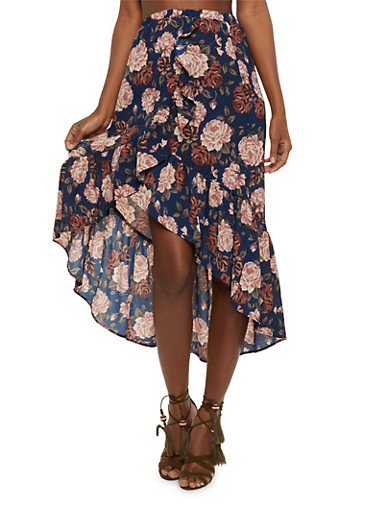 Floral High Low Ruffle Trim Skirt,NAVY,large