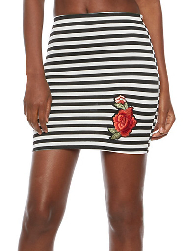 Striped Floral Patch Mini Skirt,BLACK/WHITE,large