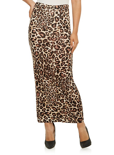 Bodycon Maxi Skirt in Leopard Print,BROWN,large